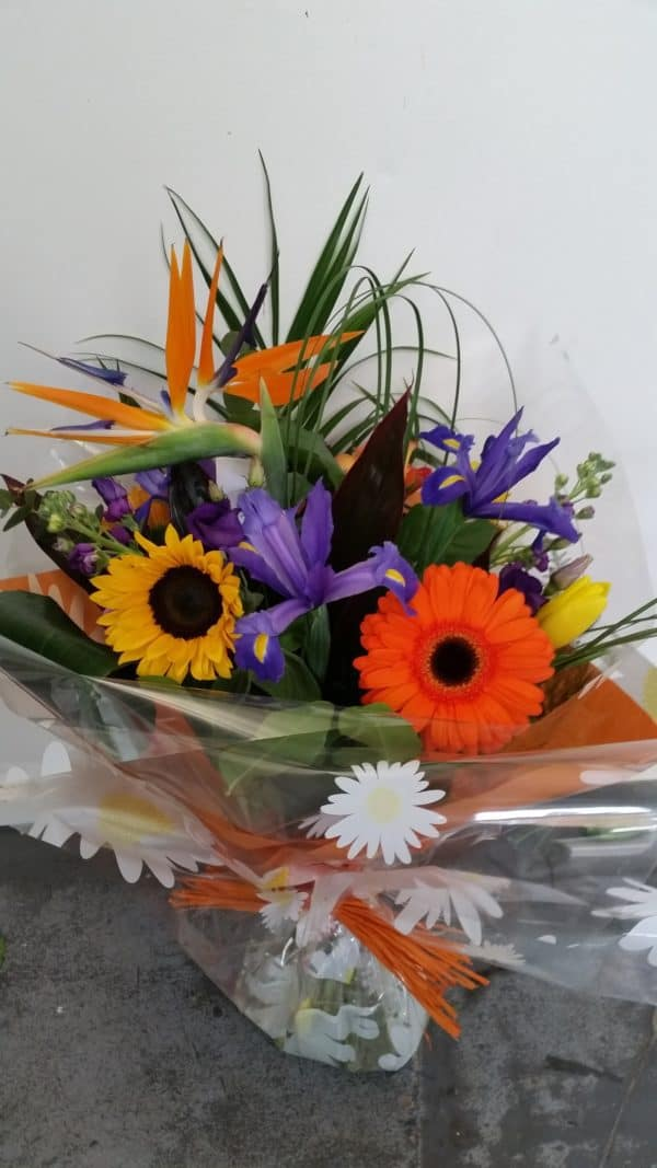 Hand Tied Bouquet in Orange and Purple 1