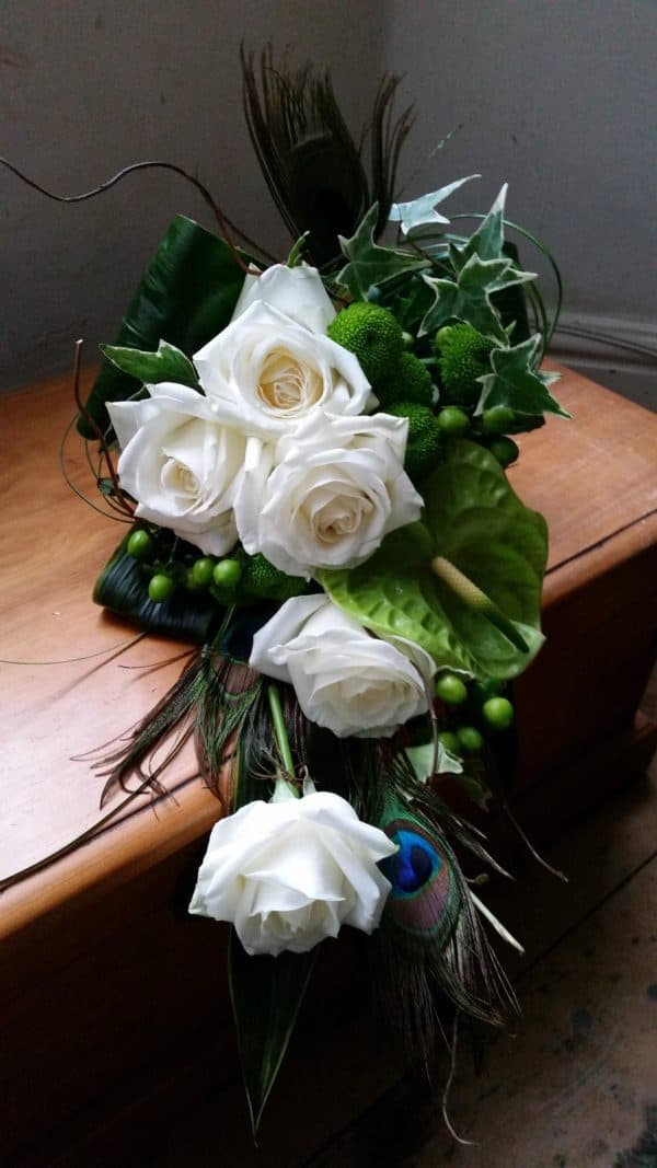 Modern Hand held Wedding Bouquet green and ivory 1