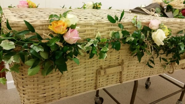 Wicker Coffin Garland with Roses 1