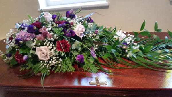 Teardrop spray in purple, lilac and white flowers 1