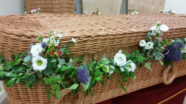 Natural Coffin Garland with Flowers 1