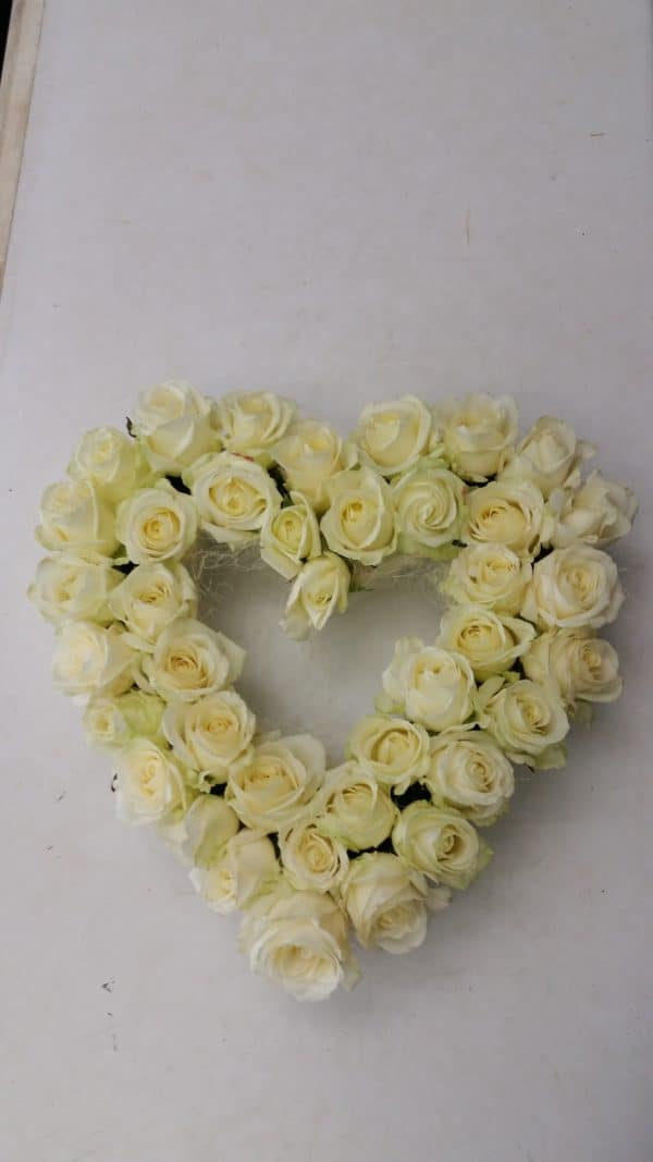 Solid White Rose Open Heart 15 inch 1