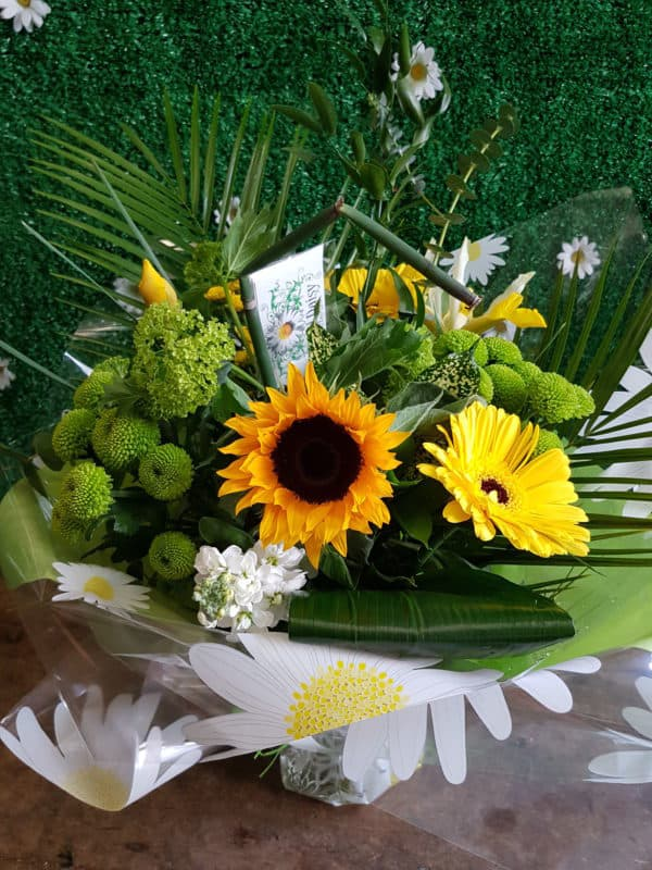 Hand Tied Bouquet in Yellow and Green 1
