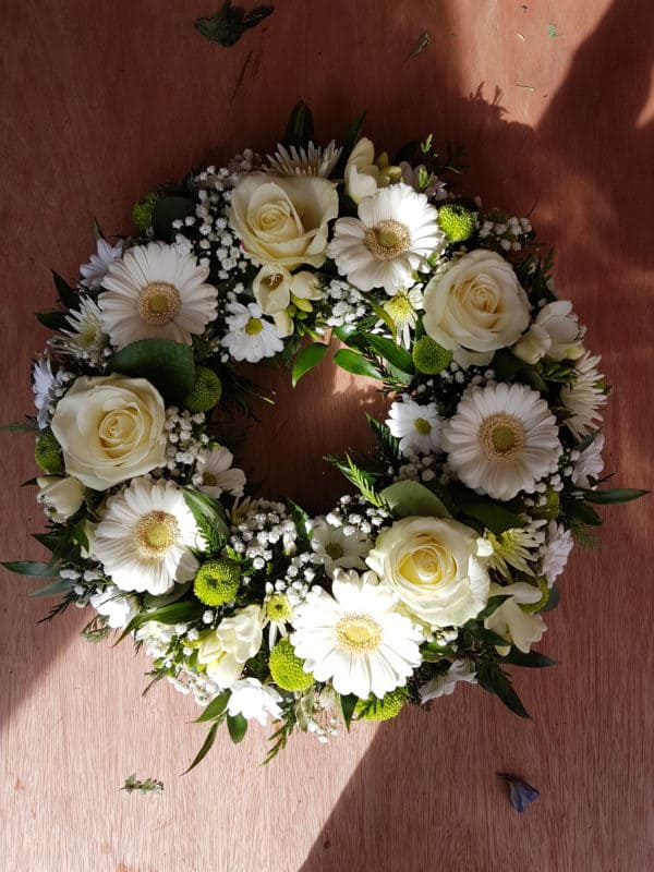 Funeral Wreath in White Flowers 1