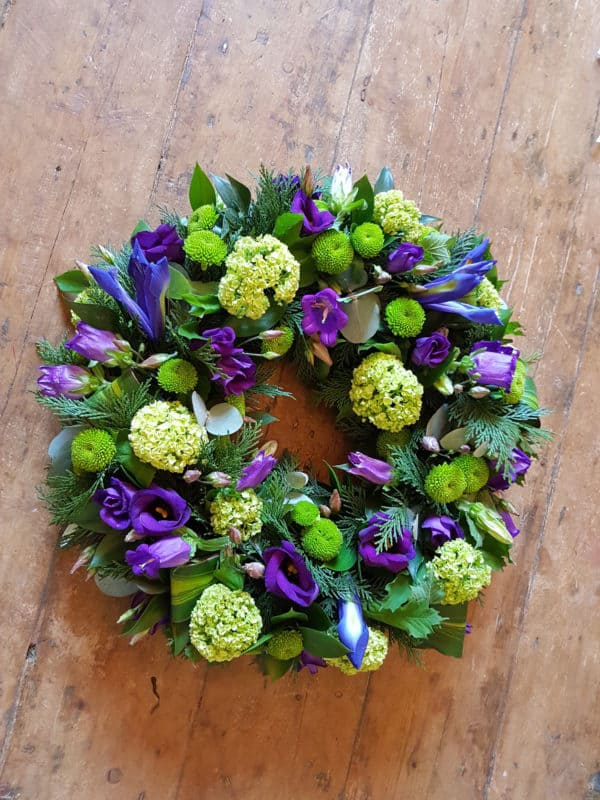 Funeral Wreath in Purple and Green 1