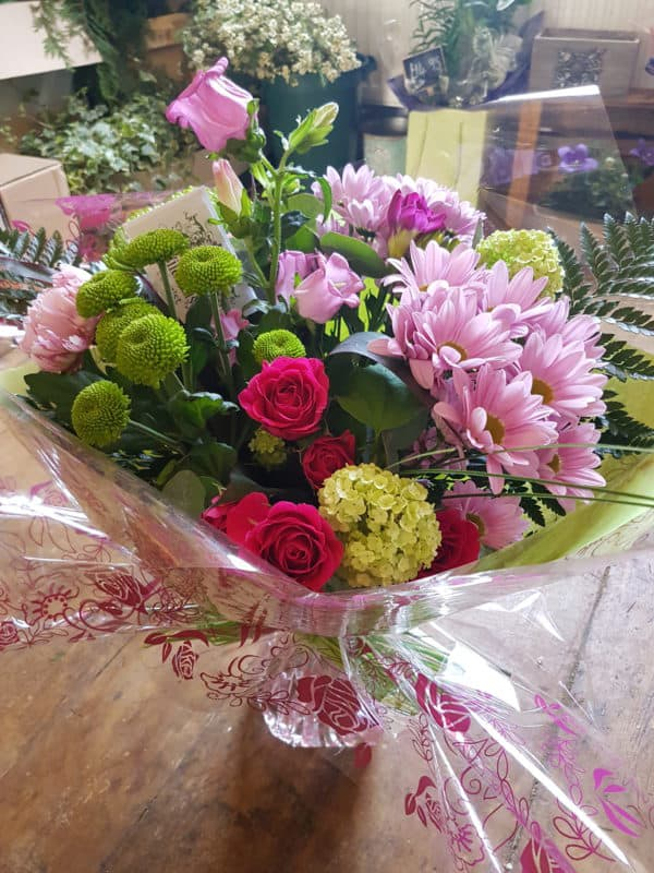 Hand Tied Bouquet in Pinks 1