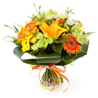 Hand Tied Yellow and Orange Bouquet 1