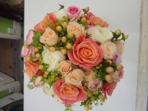 Hand Tied Brides Bouquet in Pastel Peach 1
