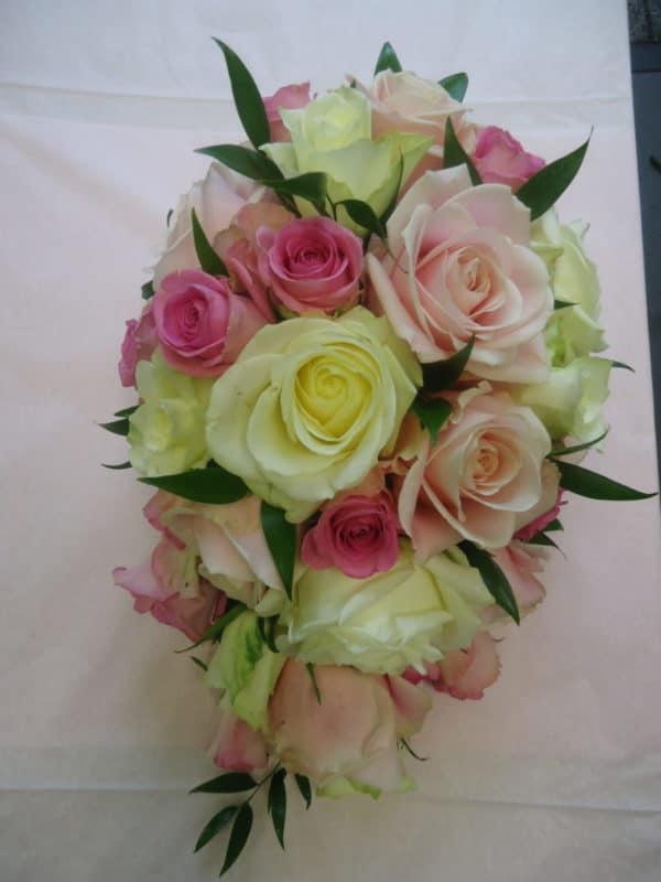 Bridal Tear Drop Bouquet all roses 1