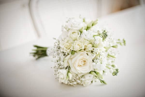 Brides Hand Tied Bouquet all White 1
