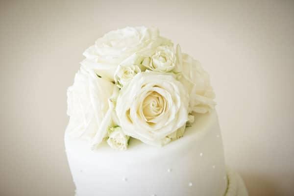 Wedding Cake Top in Ivory Flowers 1