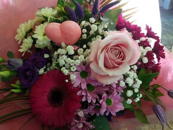 Hand Tied Bouquet in Pink & Purple 1
