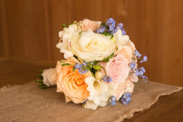 Brides Bouquet - Pastel roses with Forget Me Knots 1