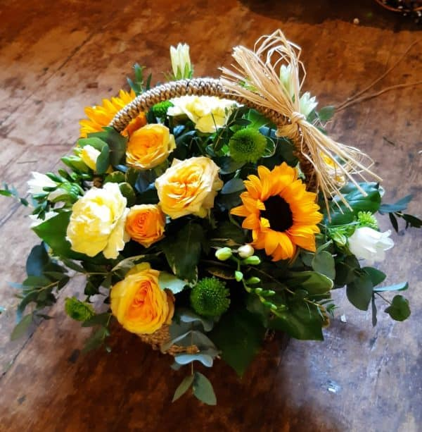 Basket with cut flowers - yellow, white and cream 1