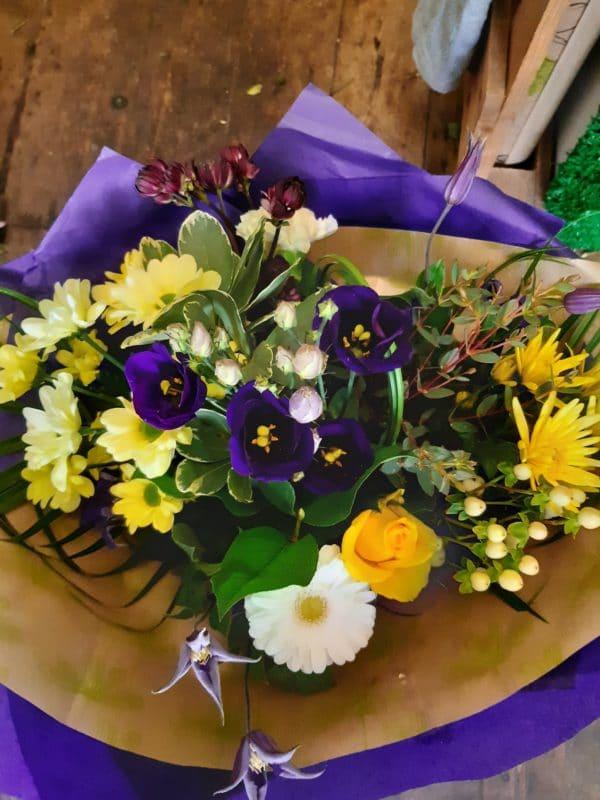 Purple & Yellow Hand-Tied Bouquet 1